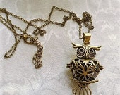 Bronze Owl Essential Oil Diffuser Necklace, by Brendas Beading on Etsy