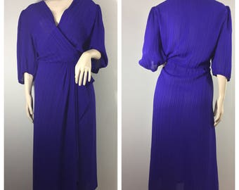 Deep Purple Dress by Michelle Scott // Plus Sized Purple Vintage Dress // Curvy Vintage