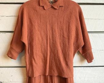 Vintage 1940s knit set • 1950s two piece set • 40s knit two piece