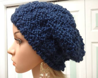 NAVY BLUE HAT, Winter hat , slouchy style ,ribbed forehead ,soft silky acrylic yarn,worsted weight , unisex hat