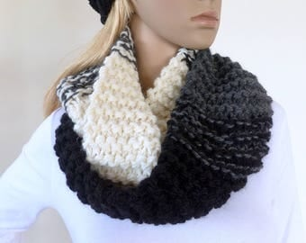 Black and white infinity Scarf Cowl Scarf Black Circle Chunky knit Grey