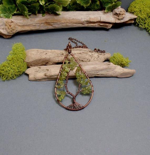 Peridot Tree of Life Necklace - Peridot Necklace - Gemstone Necklace - Peridot Teardrop Pendant - Copper Necklace - Green Teardrop Necklace