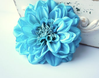 Turquoise Blue Hair Flower Dahlia Clip, Very Large