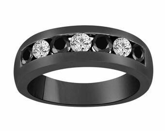Vintage Style Black & White Diamond Wedding Band, Alternating Wedding Ring, 14K Black Gold Anniversary Ring 0.92 Carat Unisex 7 Stone 6 mm