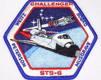 1983 NASA Challenger STS-6 Iron On Patch, Space Shuttle Mission, 1st Challenger Flight, Maiden Voyage, Swiss Embroidery, First Spacewalk