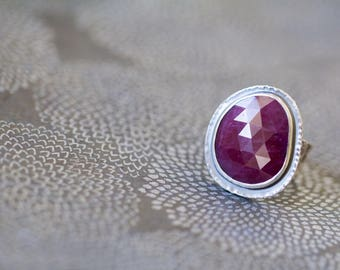 Rose Cut Ruby Ring, Raw Ruby, Sterling Silver Cocktail Ring - Velvet Memories - Size 8