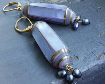Column - lavender inlaid shell & gold structure with purple freshwater pearl cluster, leverback earrings