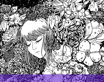 Printable coloring page of detailed original illustration 'Safe and Sound' - digital download - adult colouring - up to A4 size