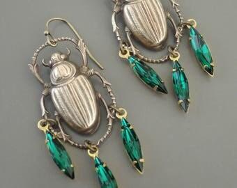 Vintage Earrings - Scarab Earrings - Egyptian Jewelry - Emerald Green Earrings - Rhinestone Earrings - Brass Earrings - handmade jewelry