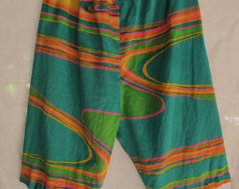 60s Psychedelic Shorts Handmade Cotton Pop Mod Long Groovy Shorts Festival Hipster Vintage Shorts Size Small