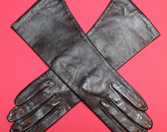 Size 7 Espresso Brown Italian Leather Gloves