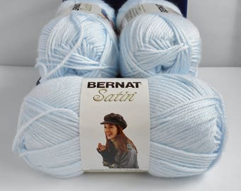 Bernat Satin Yarn Lot Blue Lapis Super Soft New 3 Balls Skeins 3.5 oz Acrylic Crochet Knitting