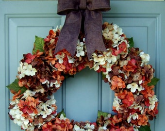 Wreath for Fall - Hydrangea Wreath Fall Door