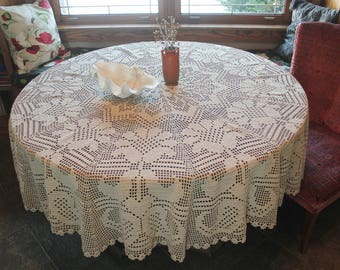 Beautiful Antique Natural Linen Crochet Round Tablecloth 72""