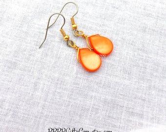 Orange Mother of Pearl Teardrop Earrings Simple Dangles Beaded Earrings Gold Plated Drop Earrings BBBBGiftsCom 1.5 inches