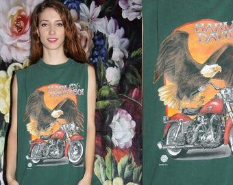 1990s Harley Davidson Screaming Eagle Biker Grunge Tank - Vintage Harley Tank Top - 90s Clothing - WV0389