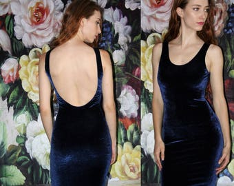 1990s Vintage Blue Velvet Low Back Boydcon 90s Party Dress - 90s Body Con Dress - Vintage nineties Dresses   - WV0430