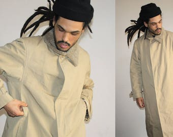 1960s Designer Dior Christian Dior Vintage Tan Men's Plaid Lined Overcoat Coat - Dior Coats - Designer Clothing - MV0534