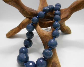 Blue faceted stone necklace