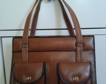 60s JOSEPH MAGNIN—Little Ladylike Brown Purse with Teeny Gold Bows and Two Front Pockets