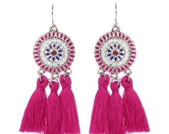 Purple tassel earrings - surgical steel earrings, turquoise, coral pink or purple earrings, stainless steel earwires nickel free