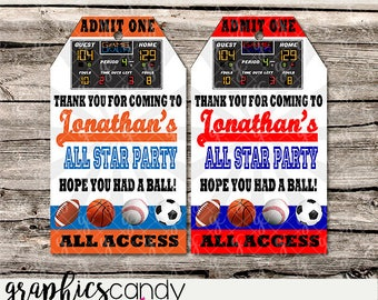 Sports Thank You Tags - All sports - Printable - DIY - Digital File - PERSONALISED for YOU - Photo or Generic