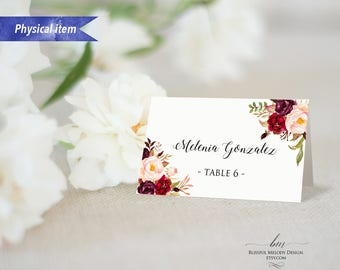 """Pack of 4 Printed Burgundy Pink Floral Tent Place Card, 2x3.5"""" Physical Card Folded Wedding Reserved Card Food Label Fall Winter Wedding #01"""