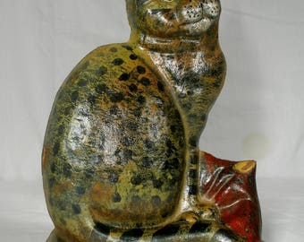 Vintage cast iron Cat Doorstop feline kitty country décor