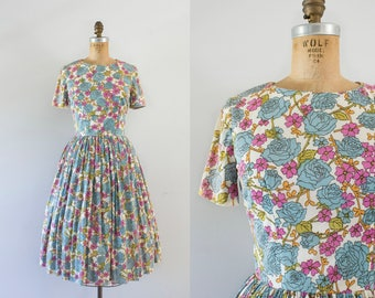1960s Secret Garden paisley nylon dress / 60s colorful floral