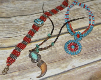 Lot of Three native american southwest style necklaces unisex Costume pieces Turquoise, Red, bold Chunky chokers