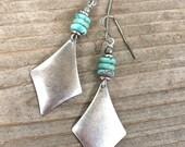 Boho Earrings Silver Dangle Earrings Drop Earrings Genuine Turquoise Earrings Bohemian Earrings Boho Jewelry Silver Earrings Silver Jewelry