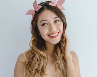 Pink Leather fascinator headband // pink gold leather flower / blush leaf crown / pink leather headpiece / spring racing fascinator