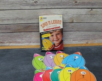 1984 Spin 'N Learn Subtraction Flash Cards, Self Checking
