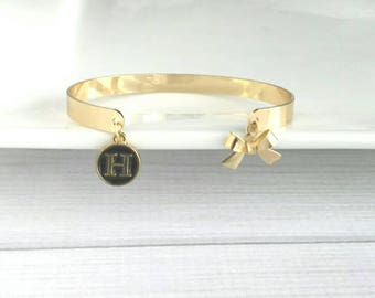 Monogram Cuff Bracelet - gold oval open bangle personalized letter initial & bow charm - best friend  sister girlfriend custom gift for her