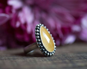 Yellow Sapphire Cocktail Ring - Sterling Silver Rose Cut Sapphire Ring Size 8 - Valentine Gift for Her - Girlfriend Gift - Winter Fashion