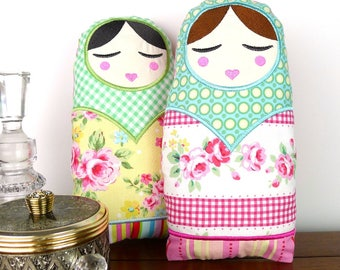 Natasha Babushka Doll Toy 10inch In The Hoop Project Applique Machine Embroidery Design Pattern