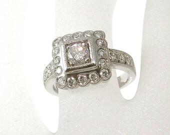 Halo Diamond Engagement Ring, Round Diamond Halo Ring, Designer Ring, Halo Engagement Ring, Palladium, Right Hand Ring, Anniversary Ring
