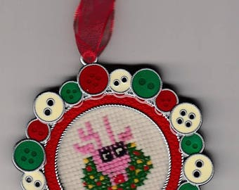 Whimsical Pink Reindeer and Wreath Cross Stitch Ornament