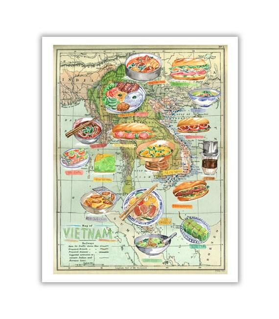 Vietnamese Food Map Watercolor Painting On Vintage Map Of