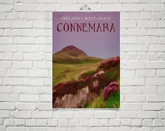Irish Art 18x24 Poster Fine Art Print Landscape Art Connemara Heather Flowers Purple Artwork Mauve Wall Art Floral Art Print Romantic Decor