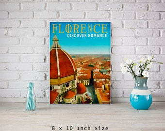 Florence Italy 8x10 Art Print Poster City Art Print Italian Wall Art Italy Gift Il Duomo Firenze Vintage Travel Poster