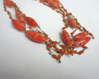 On Sale Art Deco Necklace, 1920s Art Glass Bead Necklace, Nouveau Necklace, 20s Art Deco Necklace, 1920s Flapper Necklace