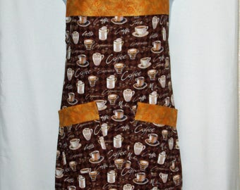 Plus Size, Coffee Apron, Latte, Custom Gift, Personalize With Name, Full Bib Long With Pockets, No Shipping Fee, Ships TODAY, AGFT 1207