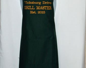 Grill Master Apron, Establish Date, Address, Funny Full Bib, Backyard BBQ, Cooking, Barbecue, Custom Gift, Personalize With Name, AGFT 1255