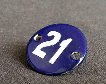 Vintage 21 numbered blue enamel plate. Antique round token birthday souvenir gift idea.