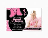 Pink and Black Minnie Mouse Birthday Party Invitation, Minnie Mouse Invitation,  Personalized, Printable and Printed