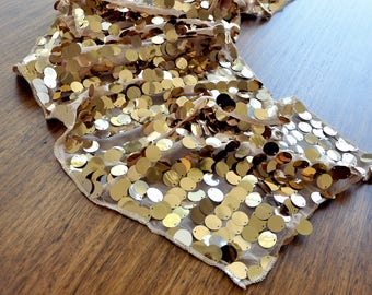 New Years Eve Decorations.  Ships in 1-3 Business Days.  Large Payette Champagne Gold Sequin Table Runner. New Years Eve Party Ideas.