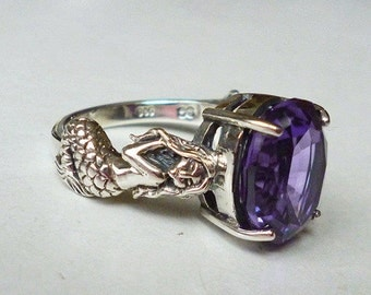 Mesmerizing Antique Style Color Changing Alexandrite Mermaid Ring Sterling Silver Gemstone Victorian Edwardian Art Nouveau Deco Boho Gypsy