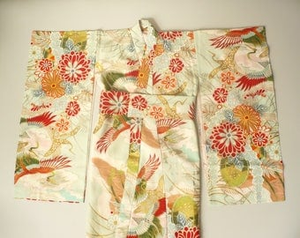 1960's Vintage Child's Girl's Japanese Crane & Floral Kimono Robe Duster Jacket