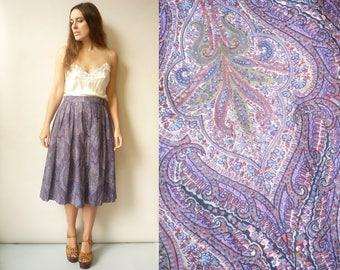 Vintage 1970's Homemade Varuna Wool Liberty Floral Print Midi Skirt Size Medium